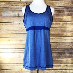 Lucy Heathered Blue Mesh Racerback Athletic Tank
